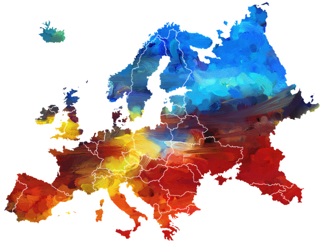Map of Europe in multiple colours